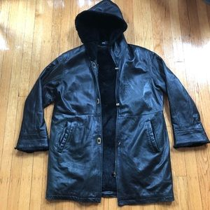Other - True Vintage Black Leather Faux Fur Hooded Trench